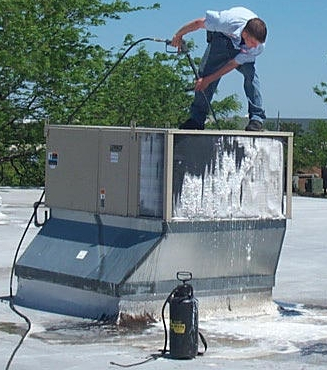 cleaning rooftop coils