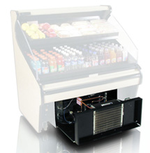 Refrigerated food display case air intake