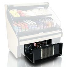 Refrigerated food display case air intake