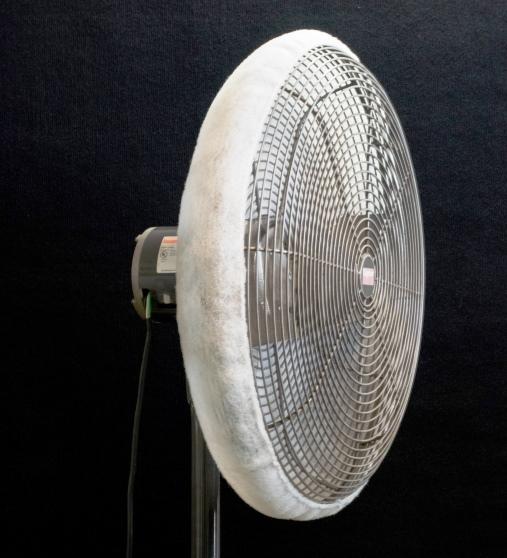Dust Control Fans : Fan shroud air filter stops dust blowing